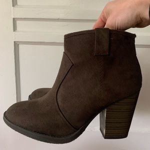 Soda Brown Suede Booties size 8